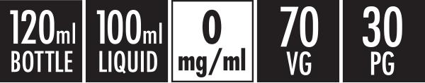 120ml Bottle | 100ml Liquid | 0mg | 70 VG | 30PG